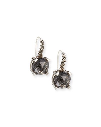12mm Faceted Black Quartz Drop Earrings