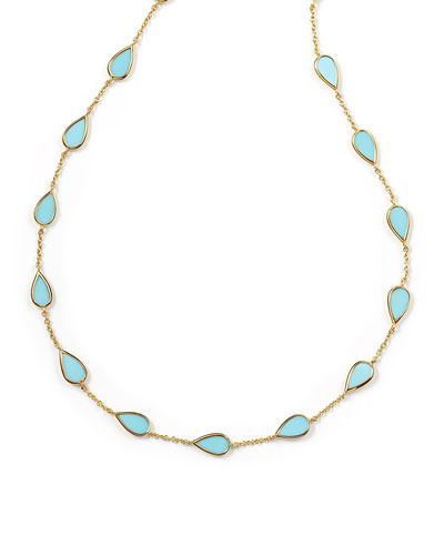 18K Rock Candy Small Turquoise Pear-Station Necklace