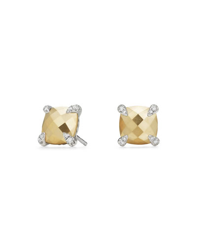 Châtelaine 18K Faceted Gold Dome Stud Earrings with Diamonds