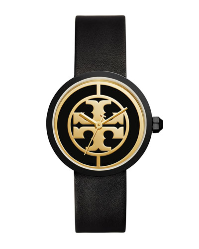 The Reva Three-Hand Leather Strap Watch, Black/Golden