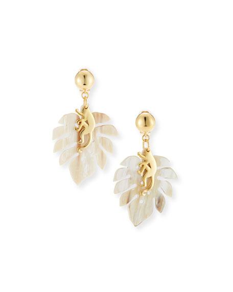 Oscar De La Renta Jungle Horn clip-on earrings rUbiR