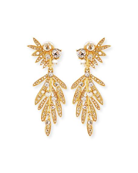 Oscar De La Renta Tropical Palm Crystal Clip-On Earrings rOA38sPD7