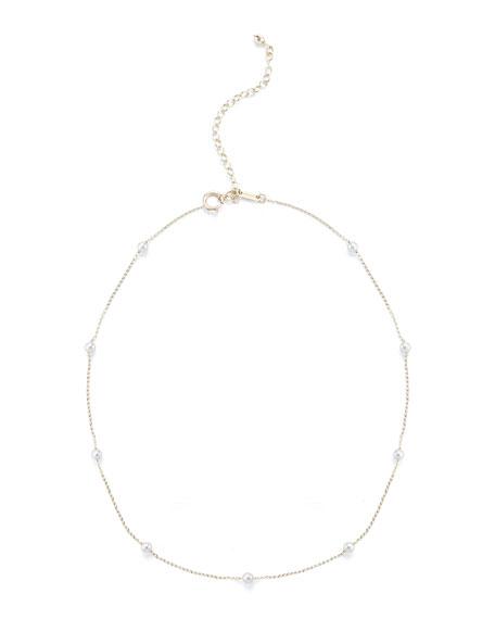 Mizuki 14k Pearl Station Chain Choker Necklace 2Vsuljs5