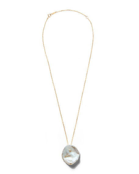 Mizuki 14k Single Petal Pearl Pendant Necklace eTukh