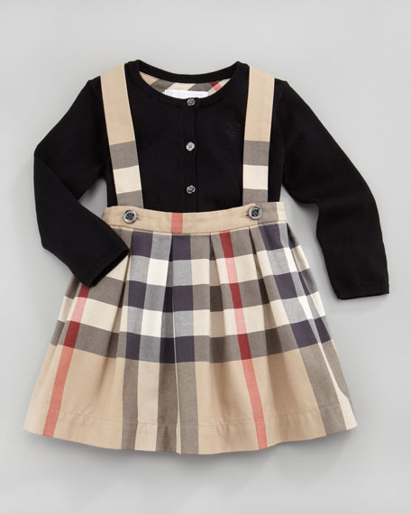 fa32b3ab35c4 Burberry Toddler Girl's Check Shoulder-Strap Skirt, New Classic