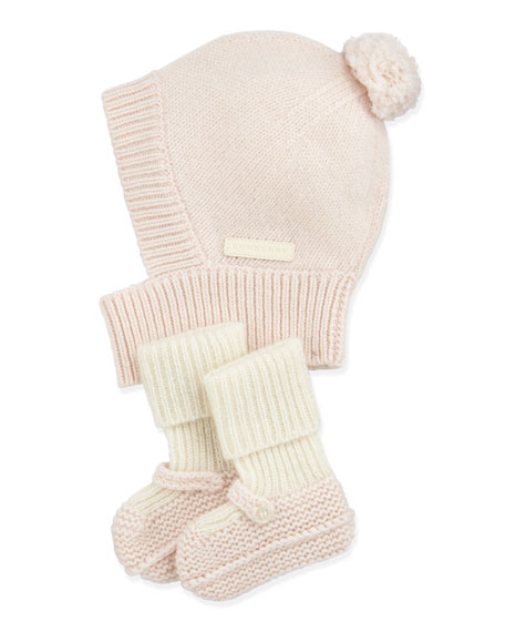 Burberry Newborn Knit Cashmere Hat   Mary Jane Booties Set 2725b8e0efa0