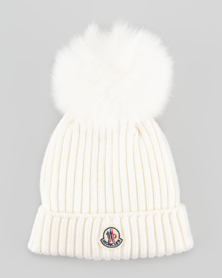 ... where to buy girls ribbed knit hat with fur pompom a4b8d ad173 110f4537a55