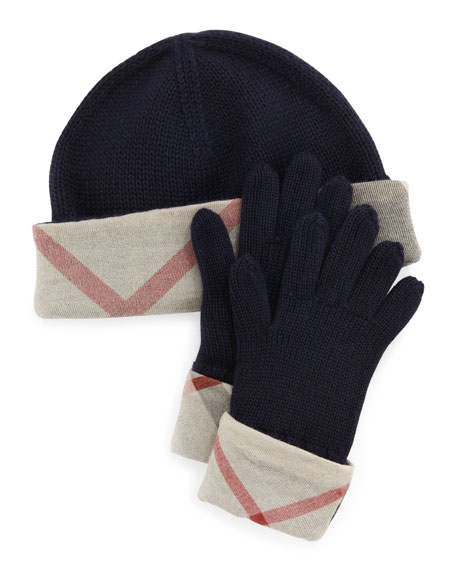 4fe95f7ff31 Burberry Kids  Knit Check-Trim Hat   Gloves Box Set