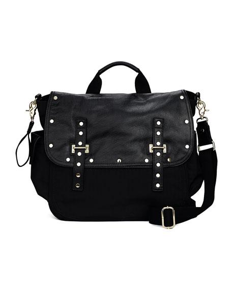 Logan Leather Nylon Diaper Bag Black