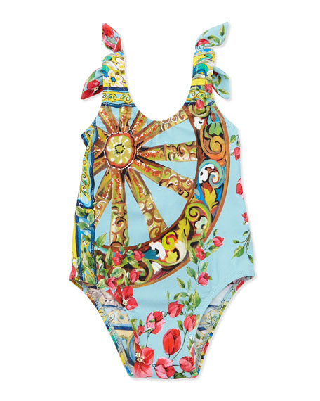 865e4e5cc0 Dolce & Gabbana One-Piece Swimsuit with Ties, Open Blue Pattern, 3-18 Months