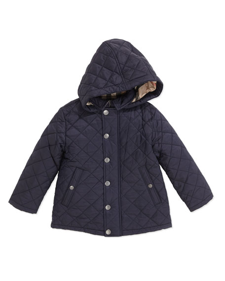 Burberry Lightweight Quilted Jacket With Hood Navy 2y 3y