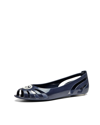 Youth Cutout Rubber Ballet Flat, Navy