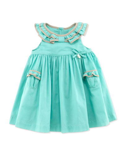 Ruffle-Collar Sleeveless Dress, Green, 1m-18m