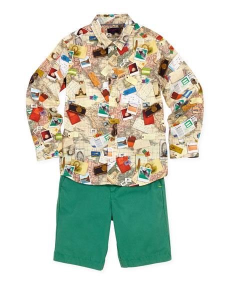World Map Button Down Shirt.Paul Smith Boys World Map Button Down Shirt Sizes 8 10