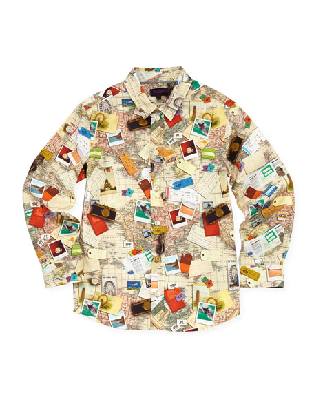 World Map Button Down Shirt.Paul Smith Toddler Boys World Map Button Down Shirt Sizes 2 6