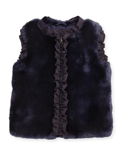 Ruffled Faux-Fur Vest, Amethyst, Sizes 8-12