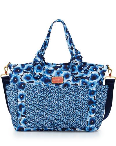 Pretty Nylon Floral-Print Diaper Bag, Blue Multi