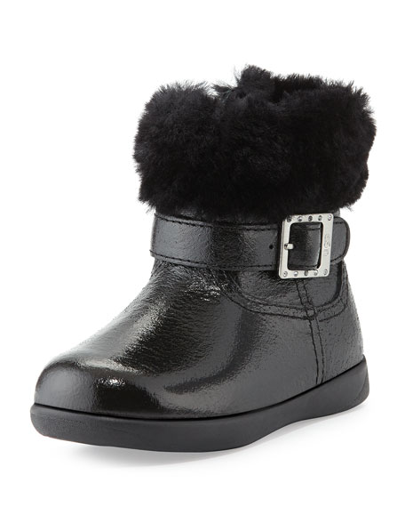 Toddler Gemma Patent Leather Boot, Black, Sizes 6-10T