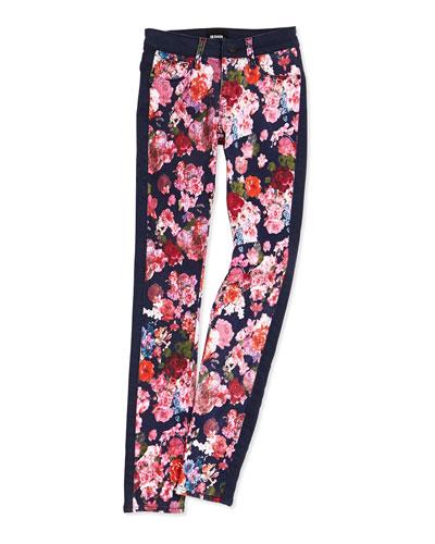 Leeloo Floral-Print Skinny Jeans, Sizes 7-16
