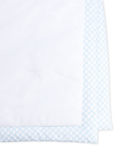 Solid Blanket, White/Blue