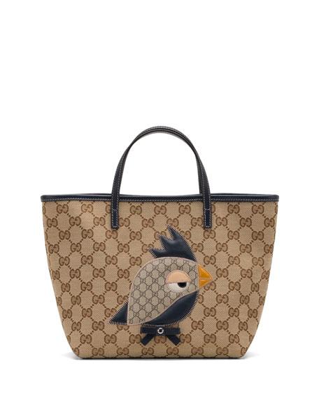 8d0de4484bc5 Gucci Girls' GG Canvas Zoo Tote Bag, Blue/Beige