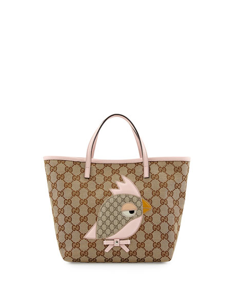 04f6bea1f66a Gucci Girls' GG Canvas Zoo Tote Bag, Pink