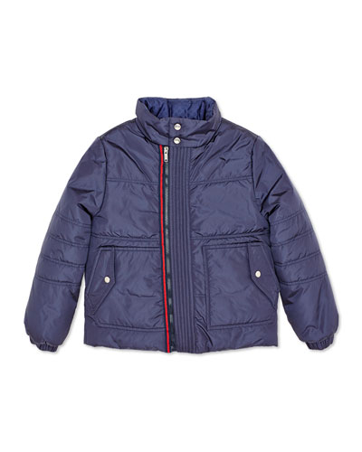 Zip-Front Puffer Jacket, Navy, 4-12