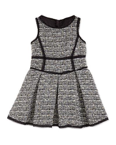 Metallic Tweed Scoop-Neck Dress, Girls' 2-7