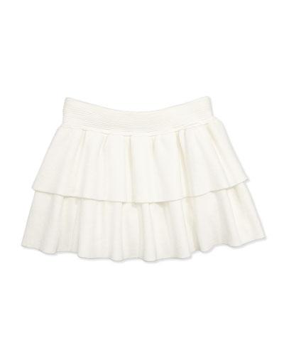 Knit Tiered Ruffle Skirt, White, Girls' 2-7