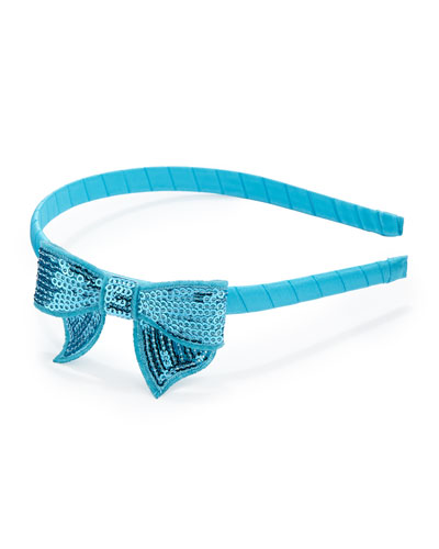 Headband with Sequined Bow, Light Blue