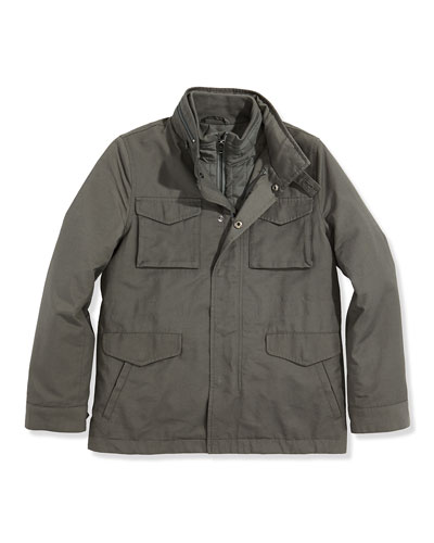 Boys' 3-in-1 Field Jacket, Dark Gray, S-XL
