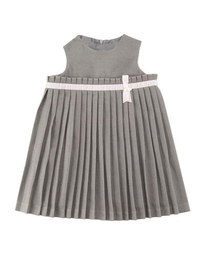 Girls' Pleated Knit Dress, Gray 3M-2Y