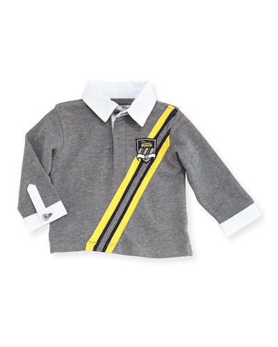 Long-Sleeve Rugby Polo, Gray, 3M-2T