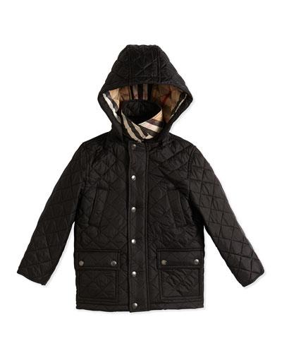 Diamond-Quilt Puffer Jacket, Black, Size 4Y-14