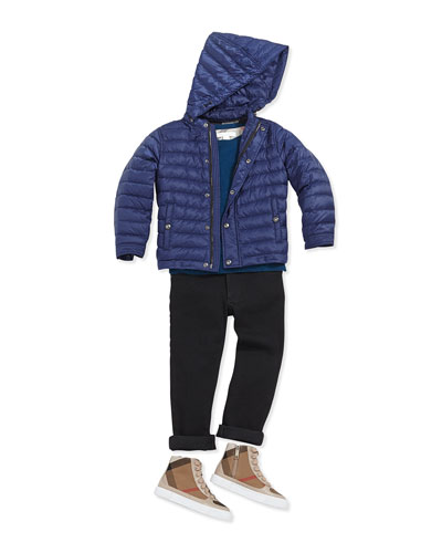 Lightweight Quilted Nylon Jacket, Sapphire Blue