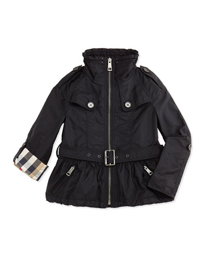 Tech-Fabric Rain Coat, Black, 4Y-14Y