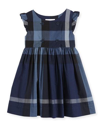 Cotton Poplin Dress, Dark Blue, Size 4Y-14Y