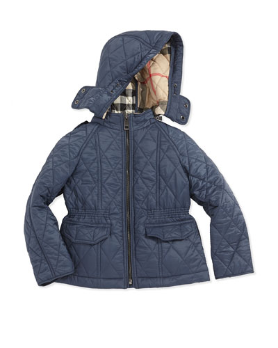 Quilted Nylon Jacket with Hood, Steel Blue