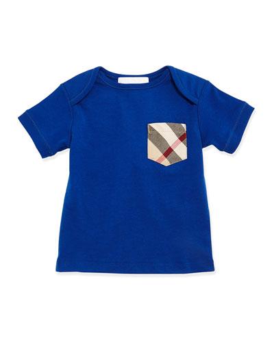 Short-Sleeve Cotton Jersey Tee, Marine Blue, Size 3M-3Y