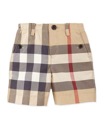 Button-Front Cotton Shorts, New Classic Check, Size 3M-3Y