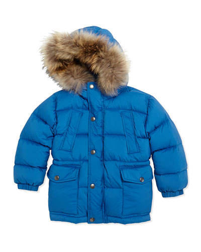 Puffer Jacket with Fur Hood, Cerulean Blue, 4Y-14Y