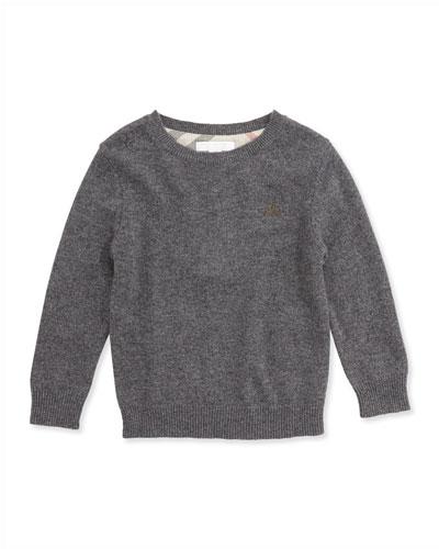 Check Elbow-Patch Sweater, Mid Gray Melange, 4Y-14Y