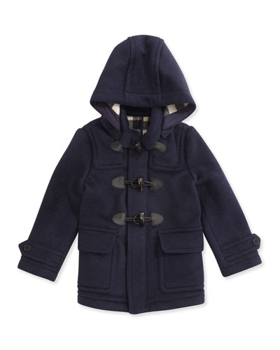 Boys' Wool Hooded Coat, True Navy, 4Y-10Y