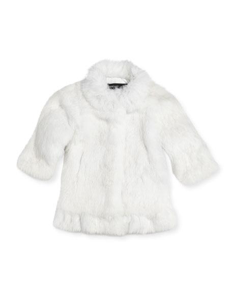 Adrienne Landau Rabbit Fur Coat Girls Sizes 2 12