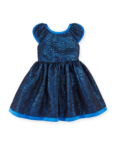 Damask Flower Dress, Blue, Girls' Sizes 2-10