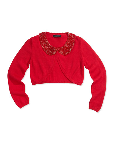 Beaded-Collar Cropped Cardigan, Red, Girls' Sizes 2-12