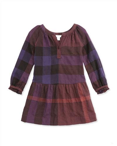 Exploded Check Drop-Waist Dress, Ebony Red, 4Y-14Y