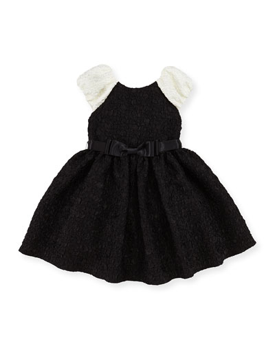 Cloque Fit-And-Flare Dress, Black/Ivory, Girls' Sizes 2-12