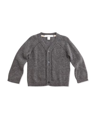 Cashmere Cardigan Sweater, Mid Gray Melange, 3-24 Months
