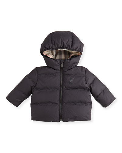 Quilted Hooded Jacket, Black, 3-24 Months